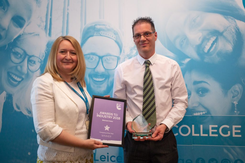 Winner of Company of the Year - Belmont Hotel with Tracey Kinsley.