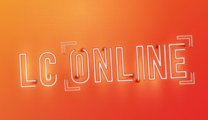 Graphic banner in neon effect, saying Leicester College LC Online