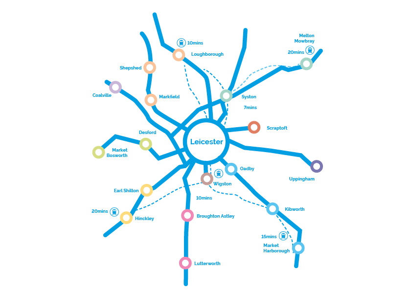 Map showing main routes to Leicester College